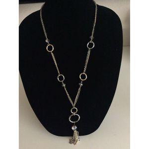 Loft Hammered Metal Ring Tassel Long Necklace
